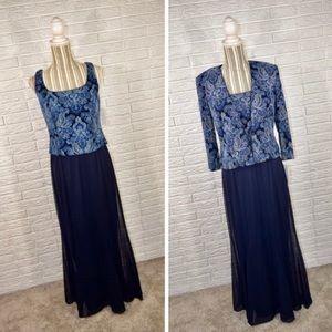 Vtg Alex Evenings Sparkly Blue Formal Dress Set